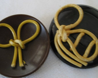 Lot of  2 Large VINTAGE Tied Bow Celluloid BUTTONS