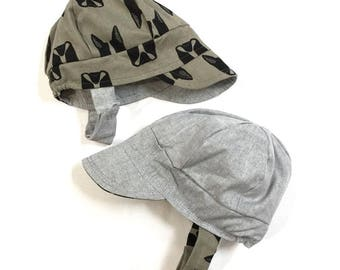 UB2 TERRIER a gray chambray and brown tan army green boston terriers on twill baby BOY newsboy sun hat, The Urban Baby Bonnet (all sizes)