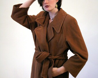 Ilaria, 70s Belted CASHMERE Coat, Brown Cashmere Wool Coat, Cashmere Overcoat, Swing Coat, Woman's Winter Coat, Chocolate Brown Coat L
