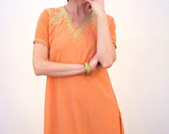Preeti, 90s Peach Kameez Tunic, Peach Dress, Side Slits, Peach Tunic Dress, Bollywood Dress, Boho India Dress, Indian Crepe Tunic Dress M