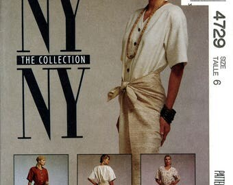 McCall's 4729 NY Collection Front Wrap Skirt Dress Size 6 Uncut Vintage Sewing Pattern 1990