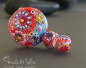 Reserved listing for K.         Handmade lampwork beads  set     Lightflowers      lentil and earring pair        made by Silke Buechler