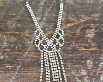 Large Vintage Rhinestone Statement Layering necklace on sterling silver chain, Reclaimed, Upcycled, Gifts under 70, Gifts for Her