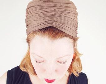 60s Cocoa Brown Silk Jersey Pillbox Hat by Roberta Bernays