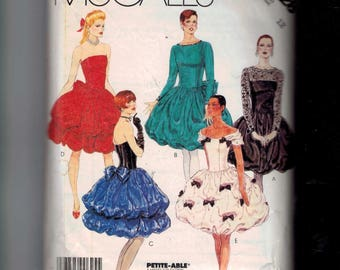 1980s Sewing Pattern McCalls 3328 Misses Puff Skirt Party Dress Prom Bubble Strapless Retro Size 12 Bust 34 1987 80s