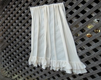 Pair Multi Ruffled Curtains Custom Drapes Double Ruffled Linen Curtains Ruffled Panels Window Treatment French Country Cottage