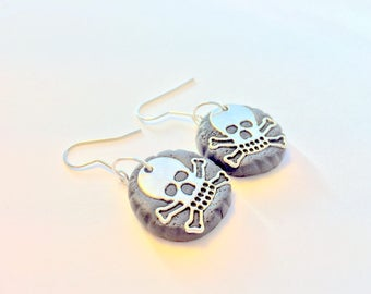 Black and Silver Skull Earrings Silver and Black Skull and Crossbones Earrings