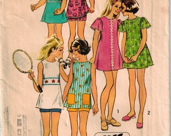 Vintage 70s Girls Jiffy Summer Dress or Tunic & Shorts Size 12 Breast 30 Sleeveless Top or Dress Patch Pockets Tennis Outfit Rick Rack Trim