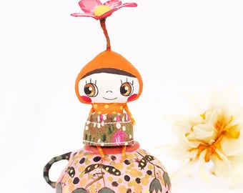Small flower doll in a cup, Spring flower fairy doll, Forest fairytale doll art, Fantasy art doll house miniature, Cute fabric doll ooak