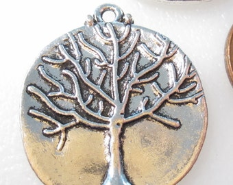 Bulk Lot 12 Tree of Life Charms Pendant Drop Focal Antique Silver Plated Pewter 25x22mm round C1124 A17