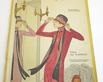 RARE Vintage French Magazine Chiffons January 1926 1920's Fashion & Couture Drecoll Illustrations