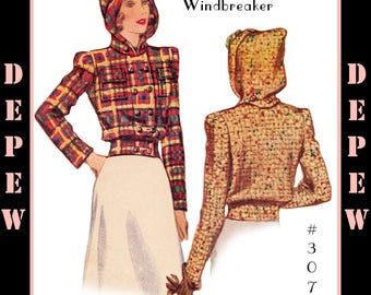 Vintage Sewing Pattern Reproduction Ladies' 1940's Windbreaker Jacket with Detachable Hood #3079 - INSTANT DOWNLOAD