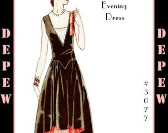 Vintage Sewing Pattern Reproduction Ladies' 1920's Robe de Style Drecoll Couture Dress #3077 - INSTANT DOWNLOAD