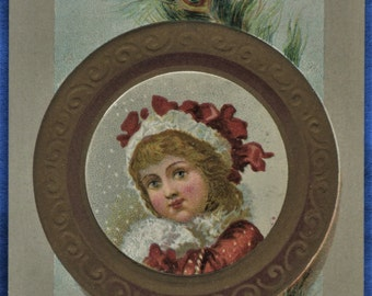Art Girl Red White Hat Embossed Christmas Card Wreath Early 20th Century Postcard Size