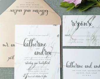 NEW Katherine Marble Wedding Invitation Sample - Modern Calligraphy Script, Marble Invite, Rose Gold Metallic Envelope