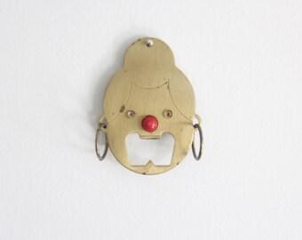 Brass Lady Mouth Bottle Opener Keychain