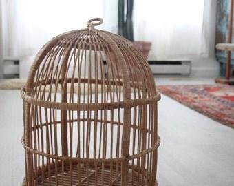 Large Rattan Birdcage / Plant Hanger