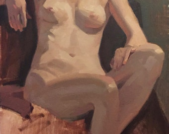 "Art painting nude portrait figure ""Study of A, Seated"" Original oil on canvas by Sarah Sedwick 12x24 inches"