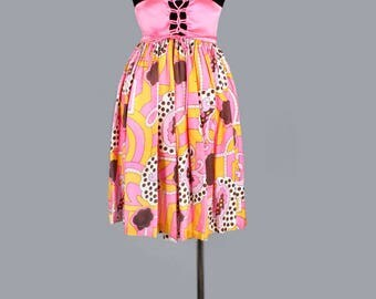 1960's Pucci Style Print & Black Velvet Vintage Mini Dress - Med