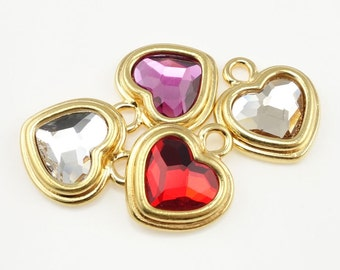 Crystal Heart Charms Gold Charms Custom Color Choice Fuchsia Pink Heart Red Heart Clear Crystal Heart TierraCast Stepped Heart Pendant
