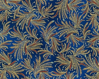 Valley of the Kings Fans Blue Gold Kaufman Fabric 1 yard