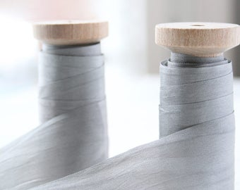 "Gray Silk Ribbon Spool, Hand Dyed Silk Ribbon, Grey Silk Ribbon, 3 yards, 1.25"" Wide Silk Ribbon, Silk Ribbon, Wide Silk Ribbon"