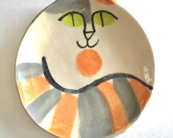 Calico pottery cat plate: handmade stoneware dish cat lover art