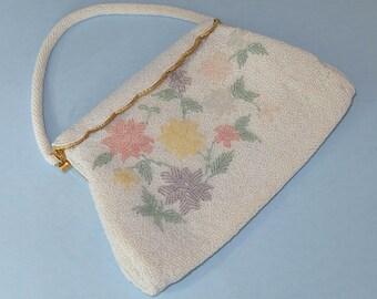 Beaded Handbag White with Pastel Flowers Unused Made in Hong Kong 1950s