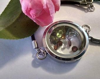 Gemstone Locket Bracelet with Leather Strap Boho Real Gemstones Shabby Chic Mom Sister Daughter Wedding Bride Friend Shower Gift Birthstone