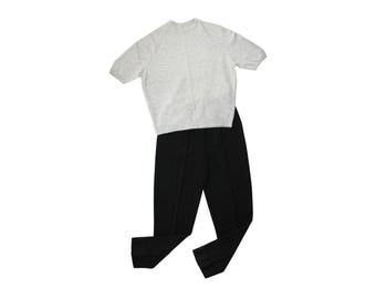 1980s Black Tapered Leg Knitted Pants