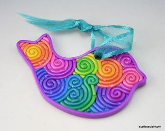 Rainbow Bird Ornament Set in Pastel Fimo Filigree