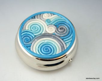 Pill Box in Turquoise and Silver Polymer Clay Filigree