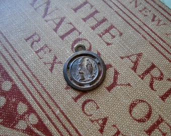 our lady of lourdes medal - antique vintage catholic charm supplies