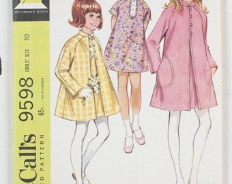 Vintage McCall's Girls size 10 pattern 9598 Girls' Coat and Dress 1968