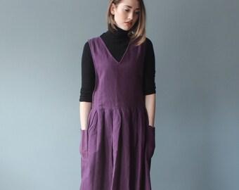 purple linen dress | plum smock dress | 1980s small - medium