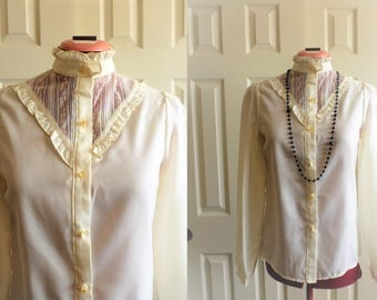 Frill Ruffled blouse. 80's blouse.