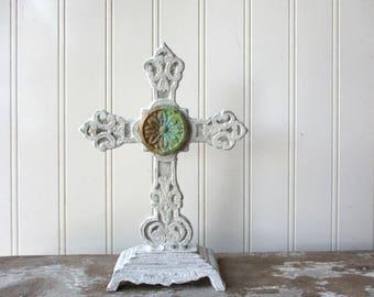 "Antique style Cast iron standing cross white cross ornate metal 8"" faux verdigris paperclay element Religious Christian Spiritual decor W3"