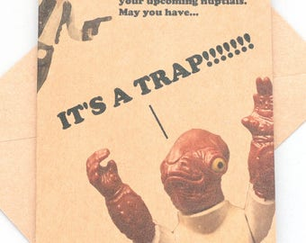 Star Wars wedding Admiral Ackbar Trap Wedding card and envelope - Star Wars - star wars gift star wars present star wars wedding