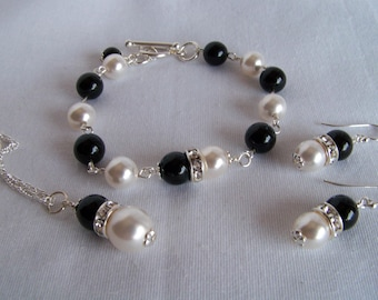 Jewelry Gifts - Black White Jewelry Set - Gift Ideas for Wives - Bridal Parure - For Girlfriends - Onyx Pearl Jewelry Set - Prom Jewelry Set