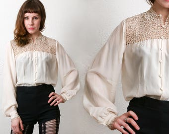 SALE Silk Ecru Lace Blouse