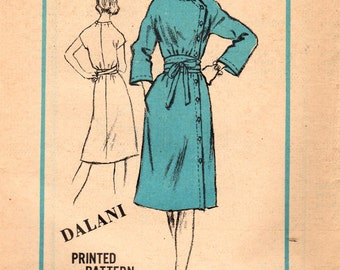 1970s Mail Order A526 UNCUT Vintage Sewing Pattern Misses Designer Wrap Dress, Button Down Dress Size 14 Bust 36