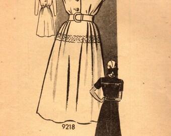 1940s Marian Martin 9218 Vintage Sewing Pattern Misses One Piece Dress, Shirtwaist Dress, Afternoon Dress Size 14 Bust 32