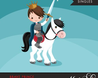 Brave Prince Clipart. Cute prince graphic, horse, crown, single clipart. Brunette boy, prince illustration, kingdom, sword, commercial use