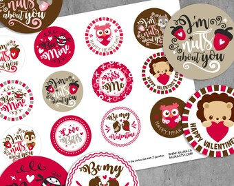 Valentine's Day Stickers. Digital printable Valentine round stickers, cupcake toppers. Valentine word art, Pink, cute valentine graphics