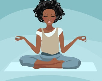 Yoga instructor Avatar. Yoga, healthy living character Graphic. African American Blog, web avatar,dark skin, Girl with yoga pants, mat, afro
