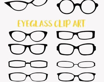 Eyeglasses clip art set, eye wear in a variety of styles clipart (LC13)