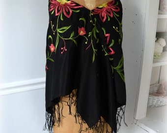 """Black Silk Shawl with Tropical Pink and Green Flowers and Delicate Fringe Evening Wrap Appx 48"""" x 49"""""""