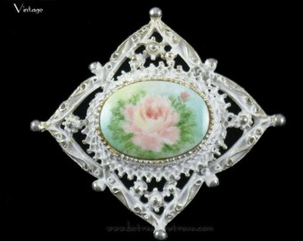 Handpainted Rose Brooch White Enamel on Goldtone Vintage Filigree Victorian Style