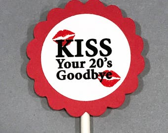 30th Birthday Cupcake Toppers - Kiss Your 20's Goodbye, Red and White, Set of 12