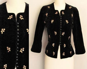 29 Waist Vintage 1940s or 1930s Jacket or Bodice top / Black Velvet Blouse from 30s or 40s / Evening Prom Party Cocktails / Medium M